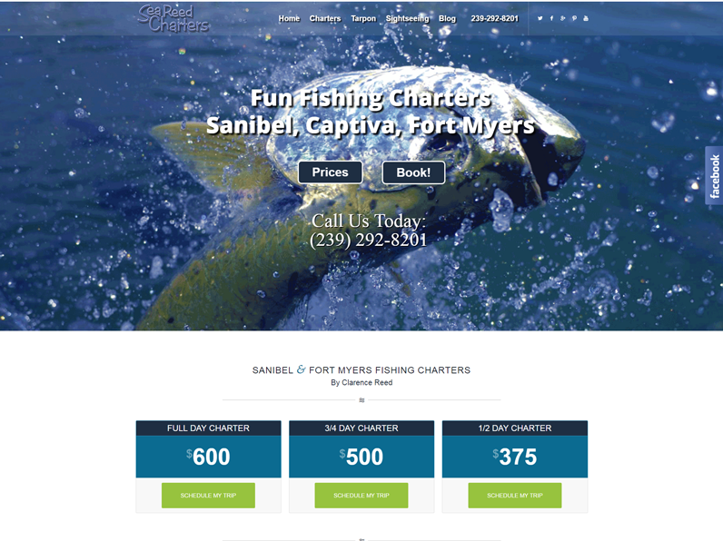 Website created by E's Web Design in Fort Myers for Sea Reed Charters