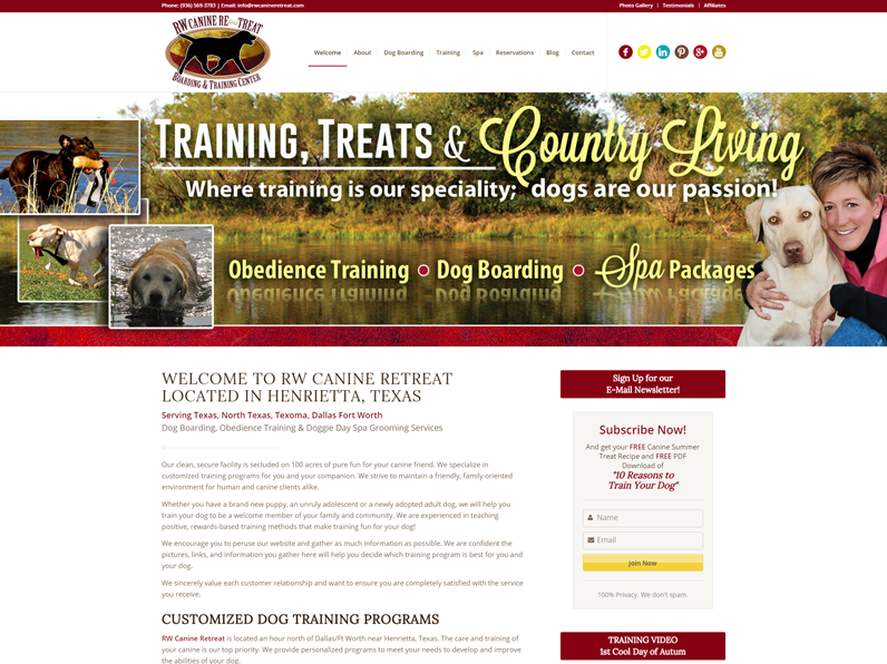 Dog Boarding & Training Website created by E's Web Design in Fort Myers, Florida