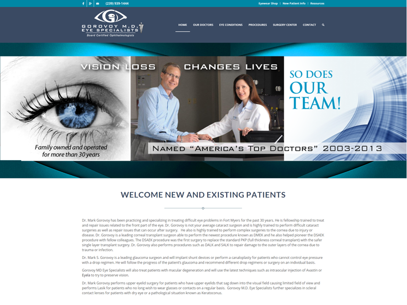 Gorovoy MD Eye Specialists Website by E's Web Design in Fort Myers, Florida