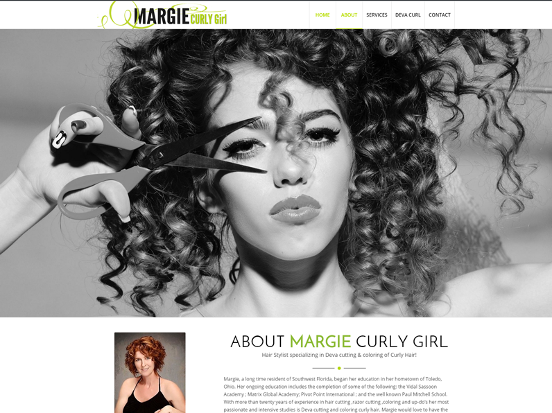 Website by E's Web design for Margie Curly Girl