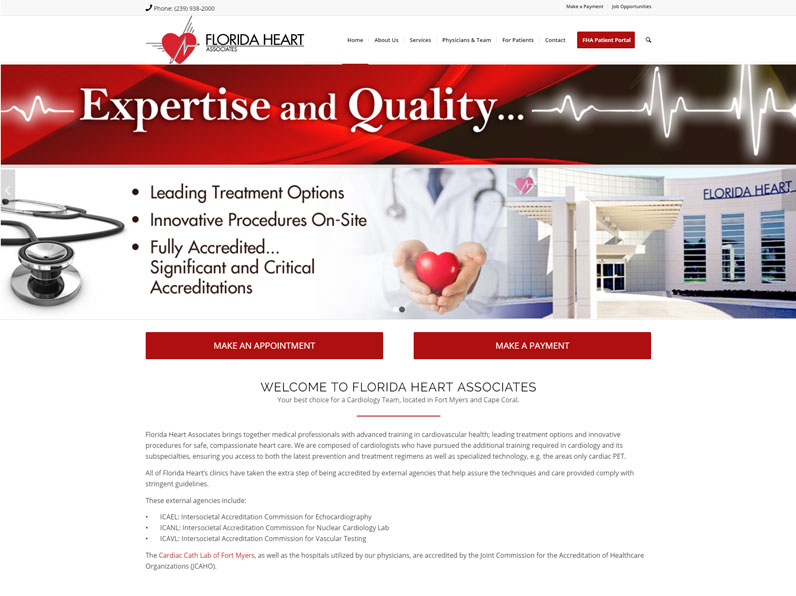 New Website Design | Florida Heart Associates in Fort Myers | by E's Web Design