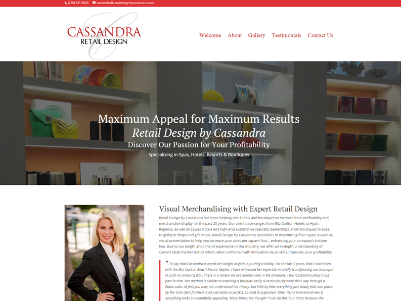 Website created by E's Web Design in Fort Myers for Retail Design by Cassandra
