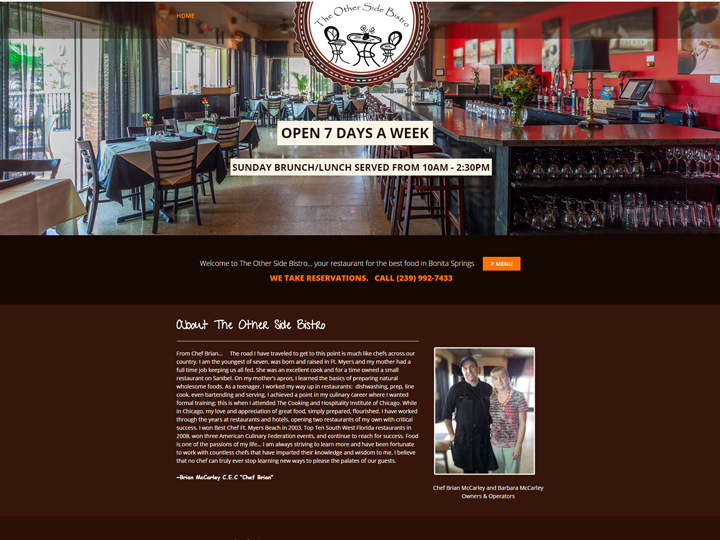 The Other Side Bistro | Website by E's Web Design in Fort Myers, FL