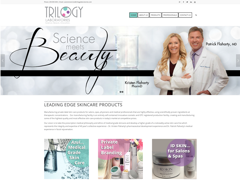 Website created for Trilogy Labs by E's Web Design in Fort Myers, Florida