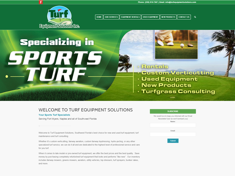 Turf Equipment Solutions Website created by E's Web Design in Fort Myers, FL